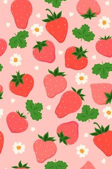 Modèle sans couture avec des fraises et des fleurs.
