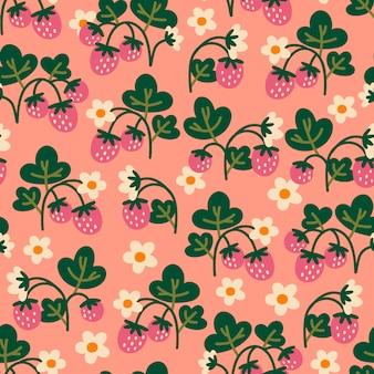Modèle sans couture avec des fraises. fond abstrait. idéal pour le tissu, le textile, le papier d'emballage.