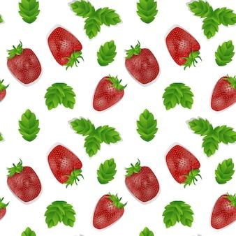 Modèle sans couture avec des fraises rouges