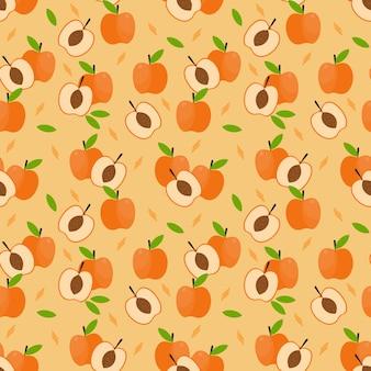 Modèle sans couture de fruits abricot.