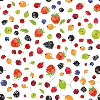 Modèle sans couture de fruits baies fraîches