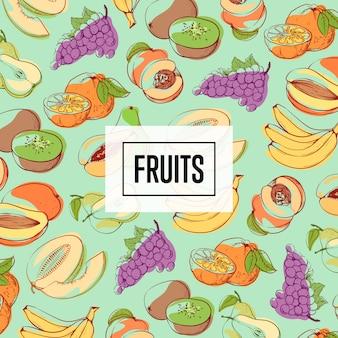 Modèle sans couture de fruits biologiques frais et juteux
