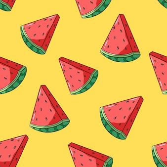 Modèle sans couture de fruits citron frais avec style doodle coloré sur fond jaune