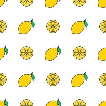 Modèle sans couture de fruits de citron. illustration de citron frais