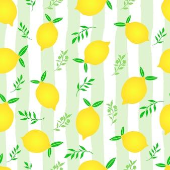 Modèle sans couture de fruits citron