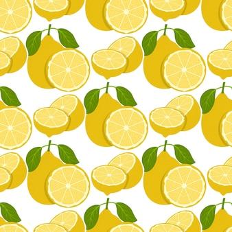 Modèle Sans Couture De Fruits Citron. Vecteur Premium