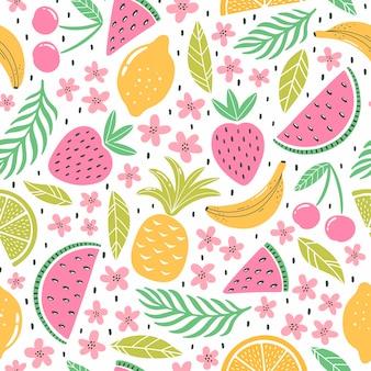 Modèle sans couture avec des fruits colorés pour le design textile. fond d'été aux couleurs vives. illustration vectorielle tendance dessinée à la main.