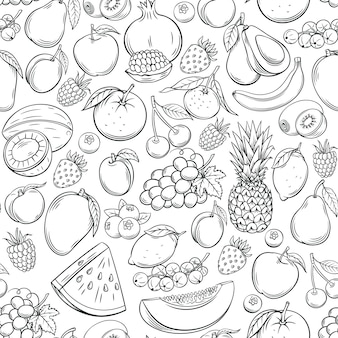 Modèle sans couture de fruits dessinés à la main.