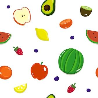 Modèle sans couture de fruits, avec différents fruits et baies sur un blanc.