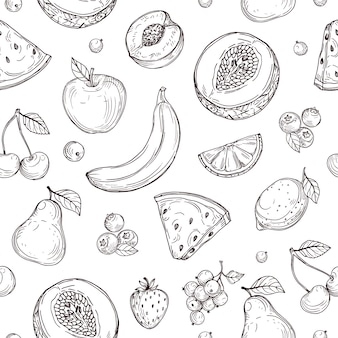Modèle sans couture de fruits doodle. croquis de texture sans fin de baies biologiques fraîches