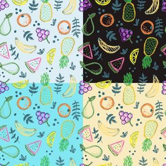 Modèle sans couture de fruits doodle