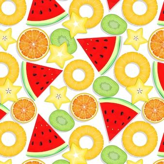 Modèle sans couture de fruits d'été