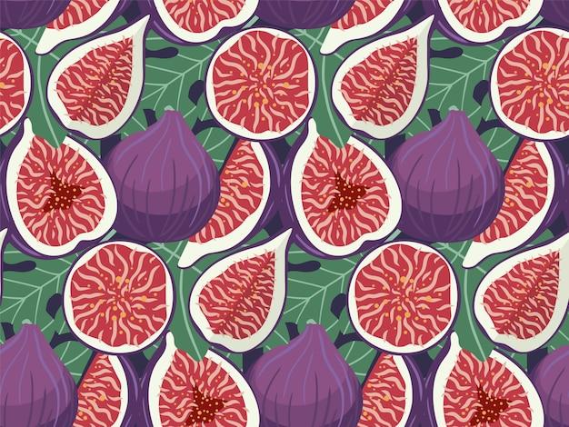 Modèle sans couture de fruits figues dessinées à la main.