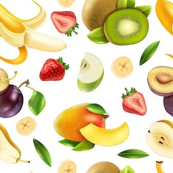Modèle sans couture de fruits fruits
