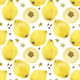 Modèle sans couture de fruits et graines de coing jaune