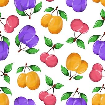 Modèle sans couture de fruits juteux sur fond blanc.