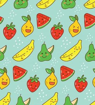 Modèle sans couture de fruits kawaii