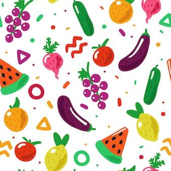 Modèle sans couture de fruits et légumes