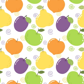 Modèle sans couture avec fruits lumineux prune poire pomme pêche modèle lumineux pour tissu de papier peint
