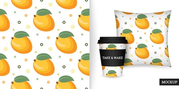 Modèle sans couture de fruits mangue