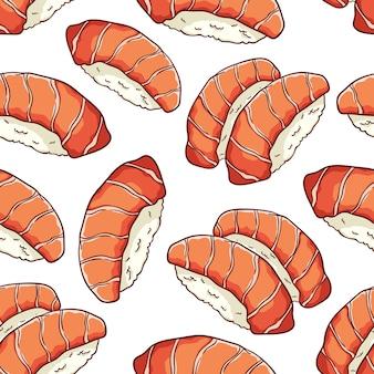 Modèle sans couture de fruits de mer japonais