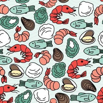 Modèle sans couture de fruits de mer de vecteur