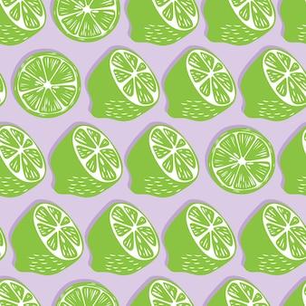 Modèle sans couture de fruits, moitiés de citron vert et tranches avec une ombre sur fond violet clair. fruits tropicaux exotiques.
