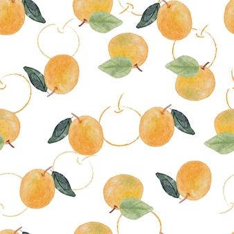 Modèle sans couture de fruits orange aquarelle