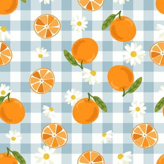 Modèle sans couture de fruits orange dessinés à la main mignon et tranche