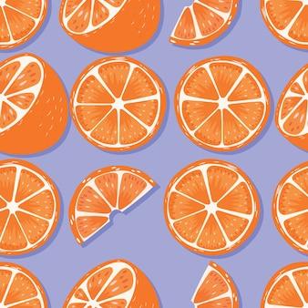 Modèle sans couture de fruits, oranges avec ombre sur fond violet. fruits tropicaux exotiques.