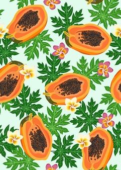 Modèle sans couture de fruits de papaye