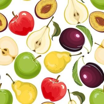 Modèle sans couture de fruits avec pomme, poire et prune.