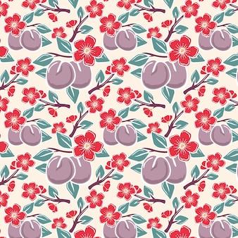 Modèle sans couture de fruits prune et fleurs rouges