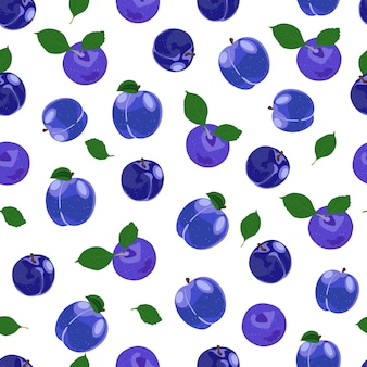 Modèle sans couture de fruits prune