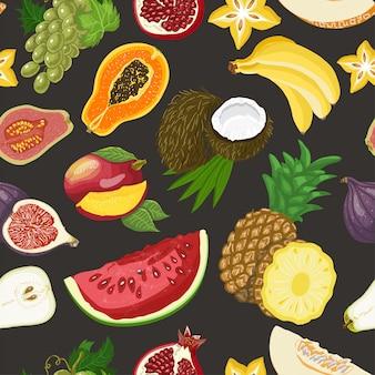 Modèle sans couture avec des fruits sains