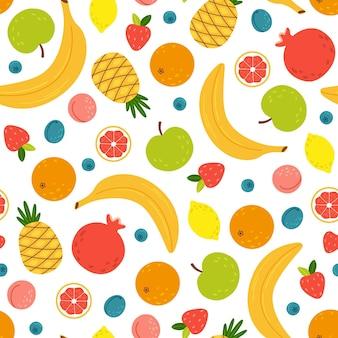 Modèle Sans Couture Avec Des Fruits Tropicaux D'été Vecteur Premium