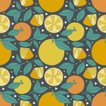 Modèle sans couture de fruits tropicaux orange lime