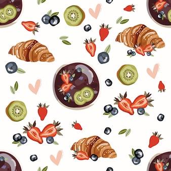 Modèle sans couture avec fruits.
