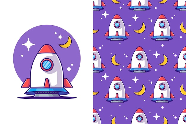 Modèle sans couture fusée aux illustrations de dessin animé de l'espace