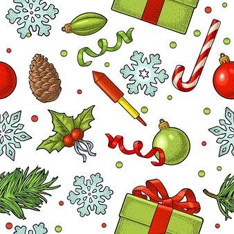 Modèle sans couture fusée boîte de pomme de pin gravure vintage de vecteur pour le nouvel an et joyeux noël
