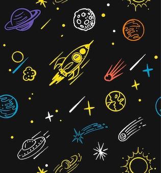 Modèle sans couture avec fusée doodle. caricature de croquis de l'espace