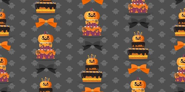 Modèle sans couture de gâteau halloween.