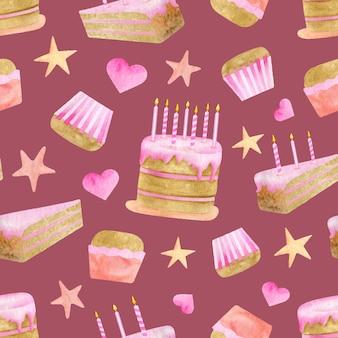 Modèle sans couture de gâteaux d'anniversaire aquarelle. fond de joyeux anniversaire rose mignon