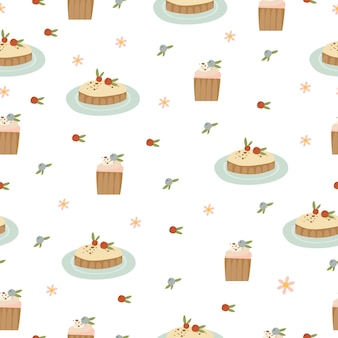 Modèle sans couture avec des gâteaux sucrés