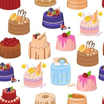 Modèle sans couture gâteaux et tartes de couche d'anniversaire