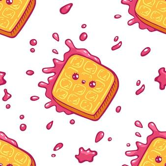 Modèle sans couture de gaufres colorées kawaii. style de dessin animé doodle sweety caractère. boutique de bonbons icône visage émotionnel. illustration dessinée à la main, isolée sur fond blanc
