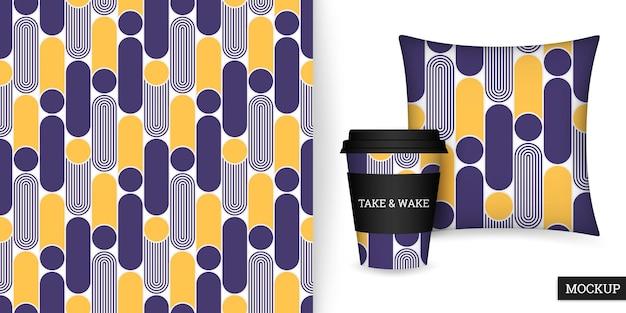 Modèle sans couture géométrique avec des formes arrondies, une tasse et un coussin
