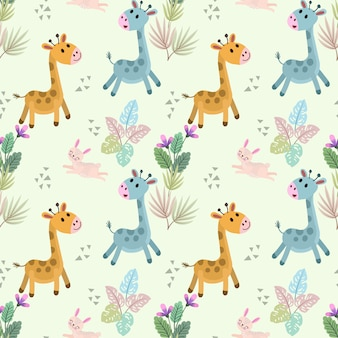 Modèle sans couture girafe et lapin gartoon mignon.