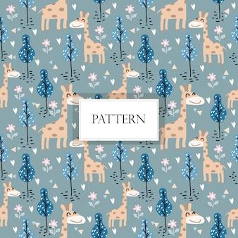 Modèle sans couture girafe mignon / fond