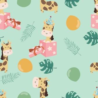 Modèle sans couture girafe mignon